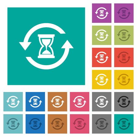 Reload symbol with sandglass multi colored flat icons on plain square backgrounds. Included white and darker icon variations for hover or active effects. Ilustrace