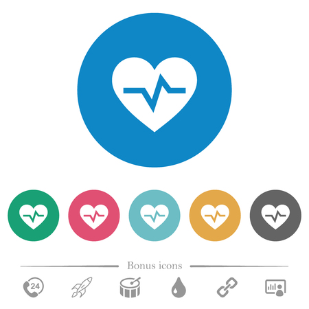 Heartbeat flat white icons on round color backgrounds. 6 bonus icons included.