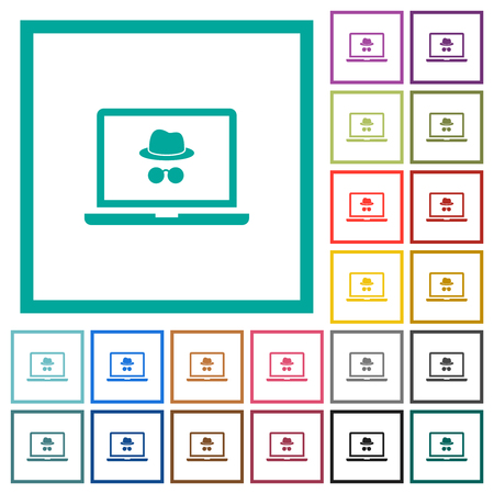 Laptop with incognito symbol flat color icons with quadrant frames on white background