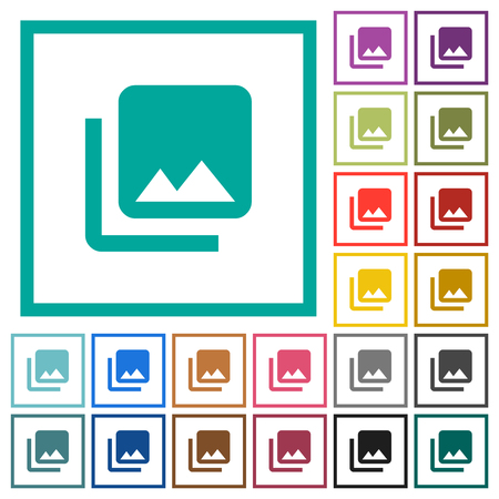 Photo library flat color icons with quadrant frames on white background Illustration