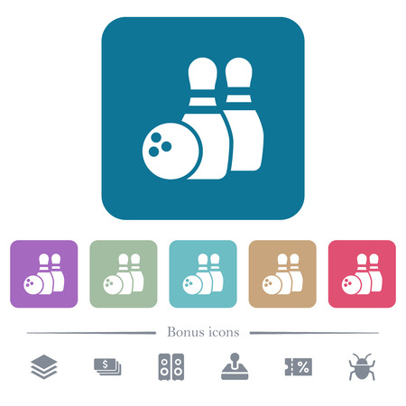 Bowling white flat icons on color rounded square backgrounds. 6 bonus icons included Illusztráció