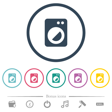 Washing machine flat color icons in round outlines. 6 bonus icons included.