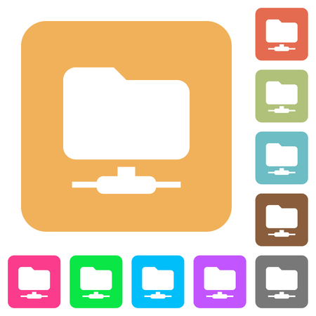FTP flat icons on rounded square vivid color backgrounds. Ilustrace