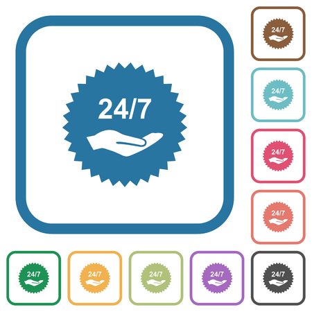 24 hours seven service sticker simple icons in color rounded square frames on white background Çizim