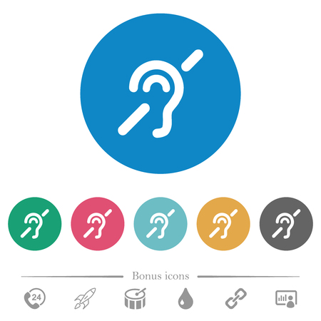 Hearing impaired flat white icons on round color backgrounds. 6 bonus icons included. Illustration