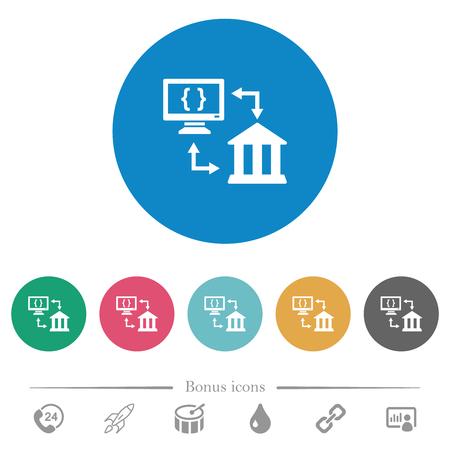 Open banking API flat white icons on round color backgrounds. 6 bonus icons included.