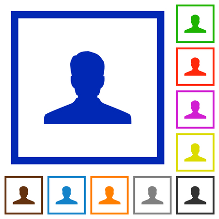 Anonymous avatar flat color icons in square frames on white background