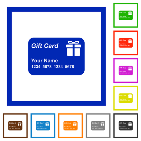 Gift card with name and numbers flat color icons in square frames on white background Foto de archivo - 125355401