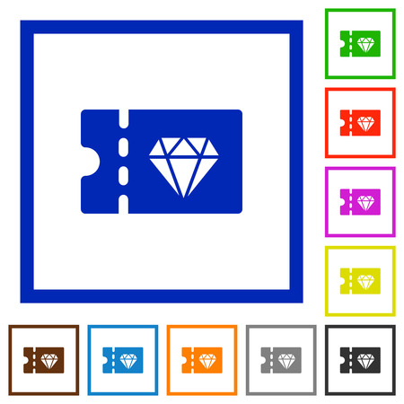 Jewelry store discount coupon flat color icons in square frames on white background