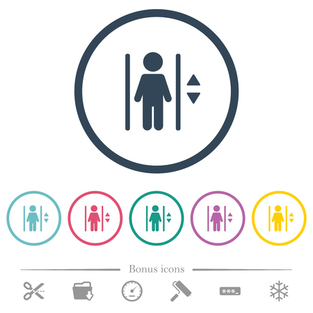 Elevator flat color icons in round outlines. 6 bonus icons included.