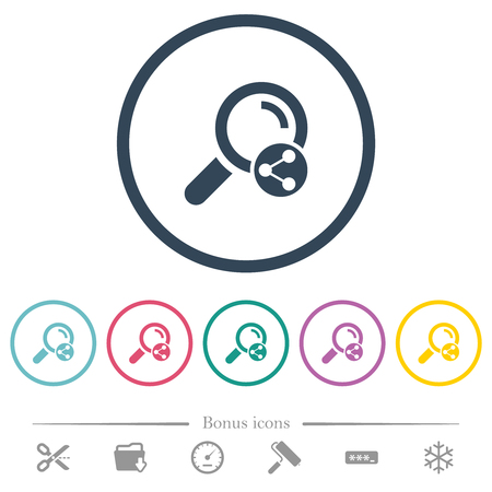 Share search flat color icons in round outlines. 6 bonus icons included. Ilustrace