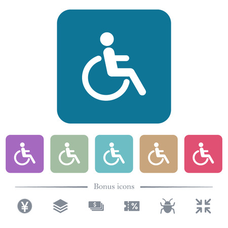 Disability white flat icons on color rounded square backgrounds. 6 bonus icons included Banque d'images - 125318286