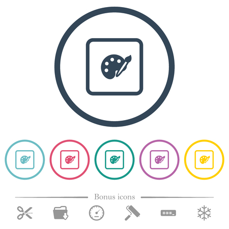Adjust object color flat color icons in round outlines. 6 bonus icons included.
