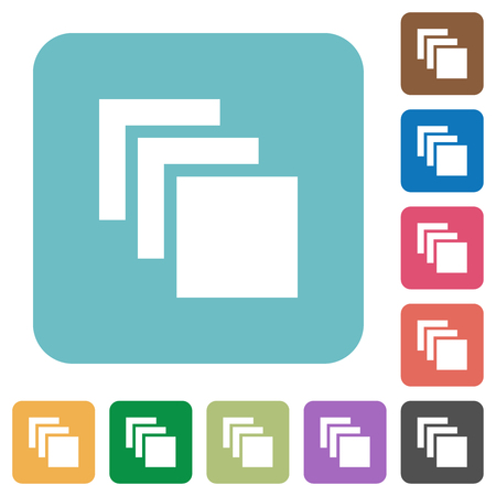 Multiple canvases white flat icons on color rounded square backgrounds Illustration