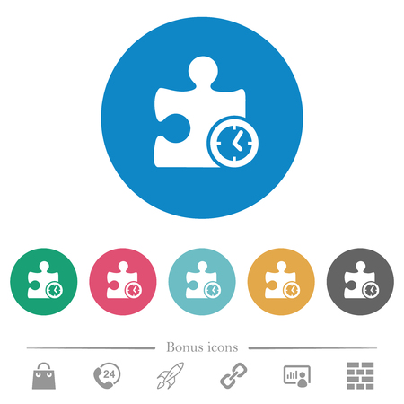 Timer plugin flat white icons on round color backgrounds. 6 bonus icons included.