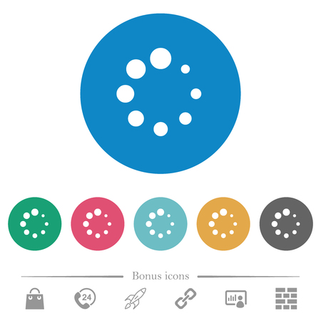 Preloader symbol flat white icons on round color backgrounds. 6 bonus icons included.