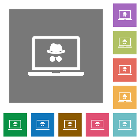 Laptop with incognito symbol flat icons on simple color square backgrounds