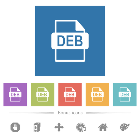 DEB file format flat white icons in square backgrounds. 6 bonus icons included. Stock Illustratie