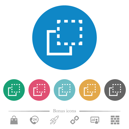 Bring element to front flat white icons on round color backgrounds. 6 bonus icons included.
