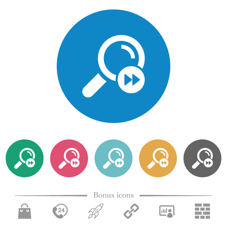 Find last search result flat white icons on round color backgrounds. 6 bonus icons included.