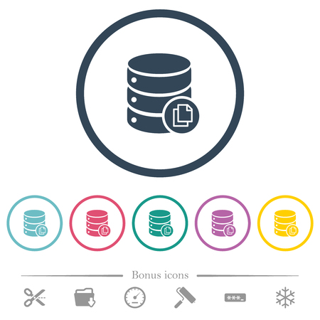 Copy database flat color icons in round outlines. 6 bonus icons included.