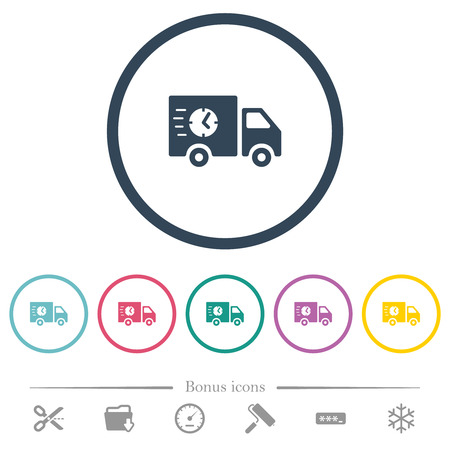 Fast delivery truck flat color icons in round outlines. 6 bonus icons included.