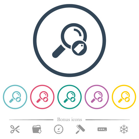 Search tags flat color icons in round outlines. 6 bonus icons included.