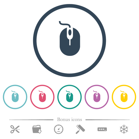 Computer mouse with cord flat color icons in round outlines. 6 bonus icons included. Illustration