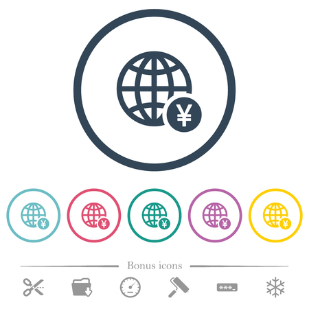 Online Yen payment flat color icons in round outlines. 6 bonus icons included. Stock Illustratie