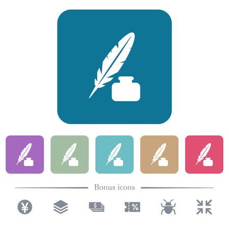 Feather and ink bottle white flat icons on color rounded square backgrounds. 6 bonus icons included