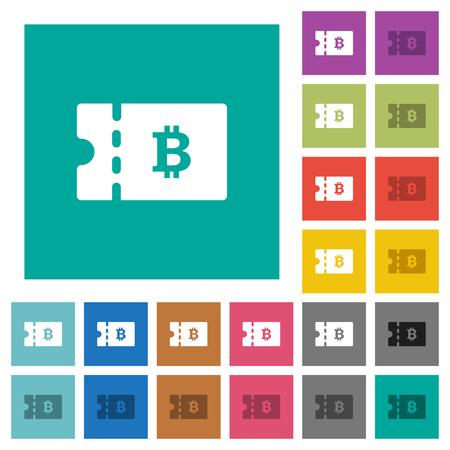 Bitcoin discount coupon multi colored flat icons on plain square backgrounds. Included white and darker icon variations for hover or active effects.