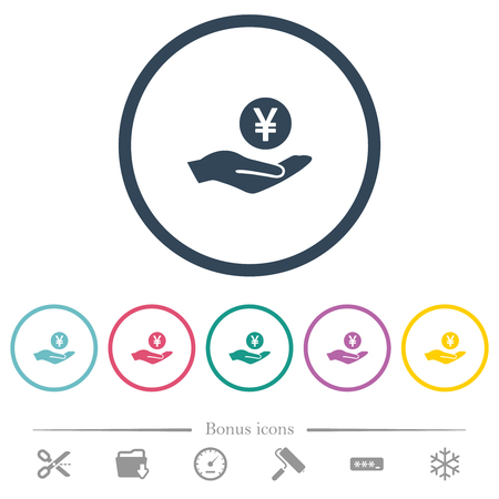 Yen earnings flat color icons in round outlines. 6 bonus icons included. Illustration