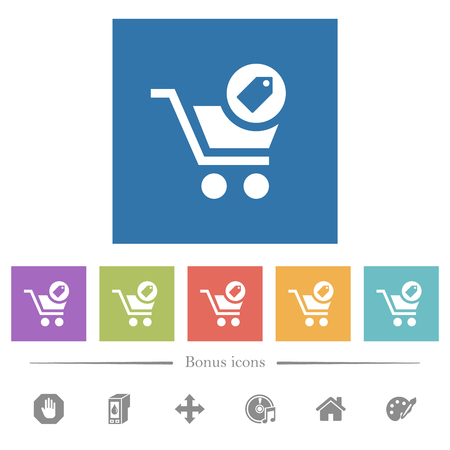 Product purchase features flat white icons in square backgrounds. 6 bonus icons included. Ilustrace