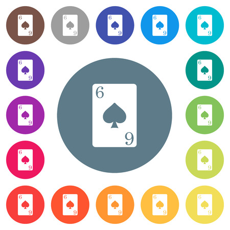 Six of spades card flat white icons on round color backgrounds. 17 background color variations are included.