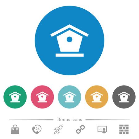 Bird feeder flat white icons on round color backgrounds. 6 bonus icons included. Çizim
