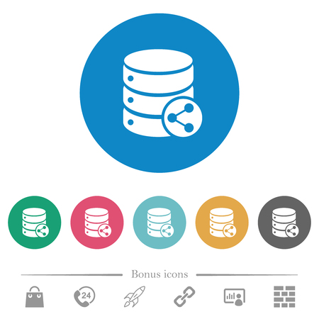 Database table relations flat white icons on round color backgrounds. 6 bonus icons included.
