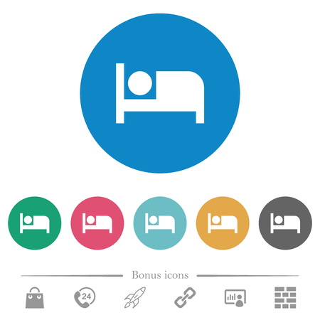 Hotel flat white icons on round color backgrounds. 6 bonus icons included.