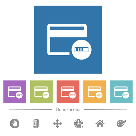 Verificación de iconos planos blancos de tarjetas de crédito en fondos cuadrados. Se incluyen 6 iconos de bonificación. Ilustración de vector