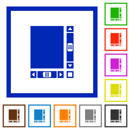 Blank document with scroll bars flat color icons in square frames on white background