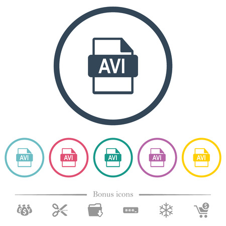 AVI file format flat color icons in round outlines. 6 bonus icons included.