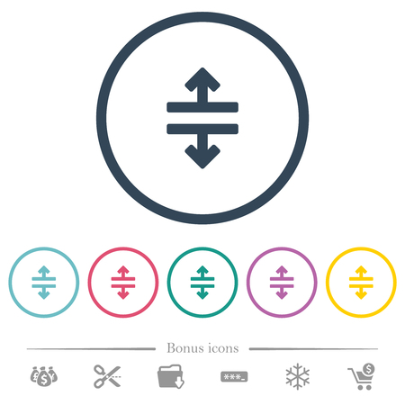 Horizontal split flat color icons in round outlines. 6 bonus icons included.
