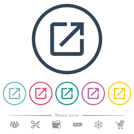 Launch application flat color icons in round outlines. 6 bonus icons included.