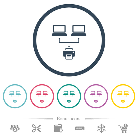 Network printing flat color icons in round outlines. 6 bonus icons included.