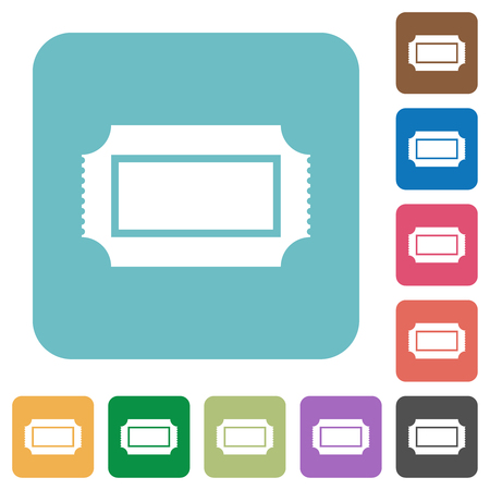 Ticket with perforated edges white flat icons on color rounded square backgrounds Illustration