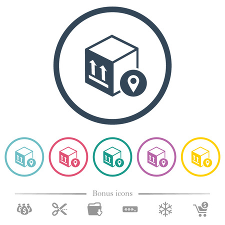 Package tracking flat color icons in round outlines. 6 bonus icons included.