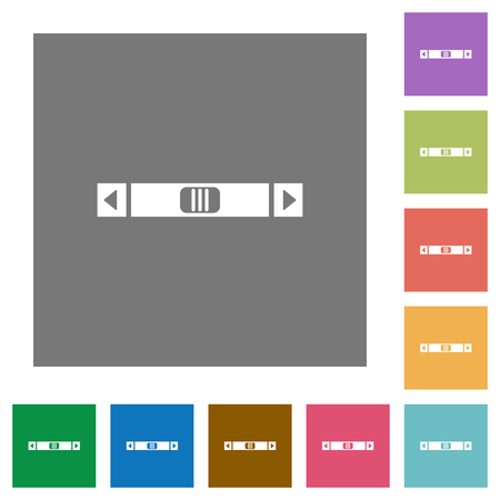 Horizontal scroll bar flat icons on simple color square backgrounds