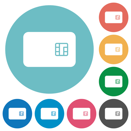 Chip card flat white icons on round color backgrounds