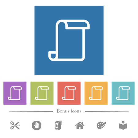 Blank paper scroll flat white icons in square backgrounds. 6 bonus icons included.