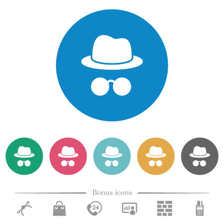 Incognito with glasses flat white icons on round color backgrounds. 6 bonus icons included.
