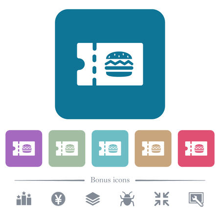Fast food restaurant discount coupon white flat icons on color rounded square backgrounds. 6 bonus icons included Ilustrace